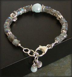 Labradorite Bracelet with Aquamarine and Silver created by jQ jewelrydesigns: Bracelets Beads, Jewelry Bracelets, Beautiful Bracelets, Bracelets Watch, Aquamarine, Silver Created, Jewellery Bracelets
