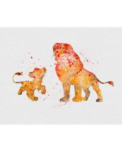 Lion King Simba & Mufasa Watercolor Art - VIVIDEDITIONS: Disney Watercolor Art, Lion King Simba, Lion King Art, Disney Art, Lion King Tattoo, Watercolor Lion King, Mufasa Watercolor, Lion King Watercolor, The Lion King