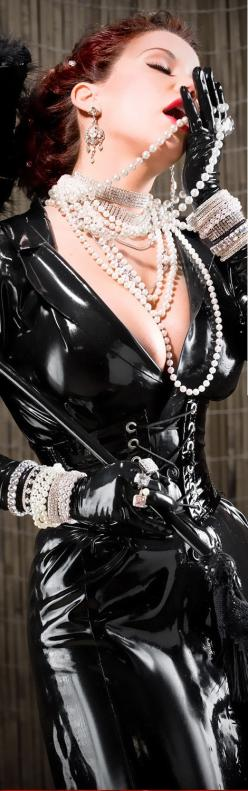 Love the pearls - and the latex and whip are great accessories, too.: Mistress, Pearly Girls, Black Latex, Latex Fetish, Pearls Nyrockphotogirl, Latex Girls, Nyrockphotogirl Pearls, Femdom