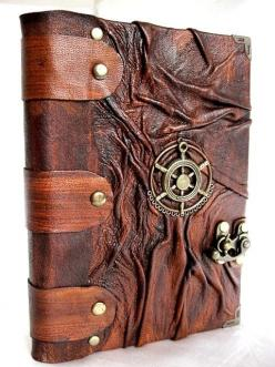 Luxury handmade vintage look blank leather journal notebook with Steampunk emblem. $49.99, via Etsy.: Handmade Vintage, Leather Journals, Journals Notebooks, Blank Leather, Luxury Handmade, Vintage Journals Leather, Books Life Journals