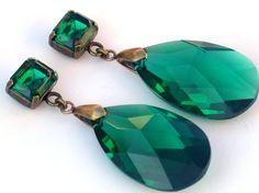 May Birthstone || Emeralds were Cleopatra's favorite stone. She was known to give visiting dignitaries large Emeralds carved with her likeness.: Emerald Earrings, South Paw, Paw Studios, Large Emeralds, Crystal Earrings, Birthstone Earrings