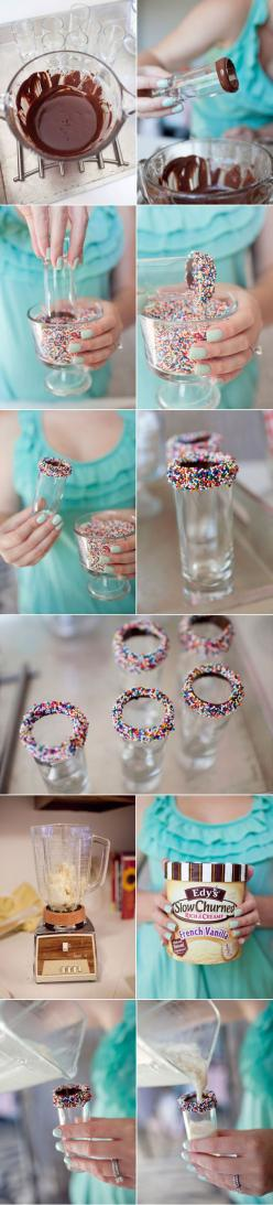 Milkshake. Cute treat for the kids.: Milkshakes Recipe, Drinks Milkshakes, Milkshake Shot, Sweet Food, Milkshake Glass, Chocolate Milkshake