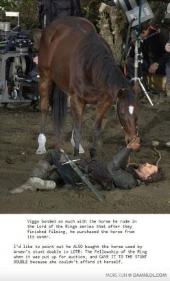 My heart just melted. Viggo is such an awesome man... Truly No-Ego Viggo: Lotr, The Lord, Viggo Mortensen, Horses, Awesome, Movie, Middle Earth, Lord Of The Rings, Animal