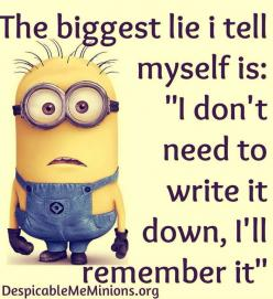 Oh so true! Now I make myself write it down most of the time.: Class Homework, Minion Quotes, Minion Truth, Minions Quotes, Biggest Lie, Funny Stuff, Funny Minions, Minion Fun