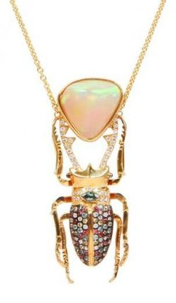 """Opal pendant with jeweled """"bug"""" drop.: A Jewelry Necklace, Daniela Villegas Jewelry, Bauble, Opal Jewelry, Villegas Ra, Necklaces"""