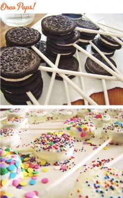 Oreo Pops.   Dip in melted white chocolate and decorate!: Birthday, Oreo Pops, Chocolate Party Favor, Food, Cake Pop, Marshmellow Pop, Party Ideas, Dessert