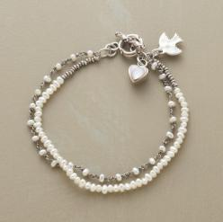 "Our exclusive two-strand bracelet intermingles cultured freshwater pearls with sterling links and seed beads. A mother of pearl heart dangles from the toggle clasp. Approx. 7-1/2""L.: Idea, Jewelry Inspiration, Artistry Bracelet, Bracelets, Freshwater"