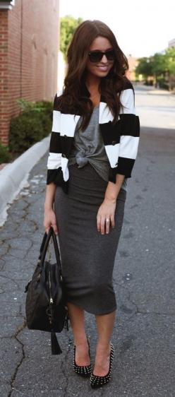 pencil skirt...<3: Calf Length, Cardigan, Street Style, Jersey Pencil, Fashion Inspiration, Pencil Skirts, Work Outfits, Grey Maxi