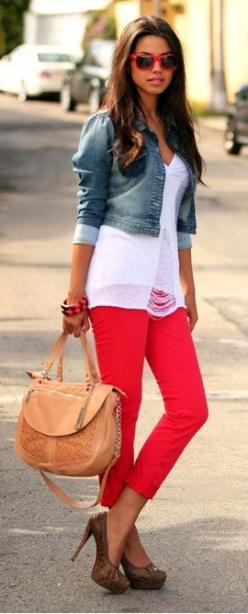 Pomegranate pants brighten up a simple outfit.  Dareen Hakim Collection   Chic. Bold. Unexpected.   www.dareenhakim.com: Fashion, Red Jeans, Street Style, Spring Summer, Outfit, Denim Jackets, White Top
