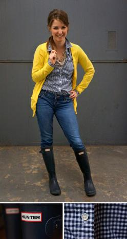 :: rain delay :: Hunter boots + gingham + bright yellow--adorable...got get my looks ready & paired with my Hunter wellies for NYC :): Rain Delay, Hunters Wellies, Boots Gingham, Gingham Shirt, Black Rain Boots Outfit, Fall Outfits With Hunter Boots,