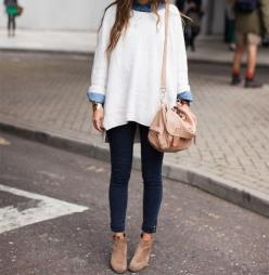 skinnies + oversize sweater + booties: Fashion, Clothes, Street Style, Fall Outfit, Big Sweater, Oversized Sweaters, Wear, Fall Winter