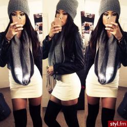 skirt's a little short for my liking but I love the overall look ♥: Skirts, Style, Winter Outfit, Fall Outfits, Winter Fashion, Leather Jackets, Scarf, High Boots, Fall Winter