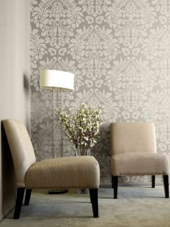 "Stencil design ""Large Fabric Damask"" from Royal Design Studio (wow—I thought this was wallpaper): Dining Room, Large Wall, Wall Stencil, Wallpaper, Damask Stencil, Accent Wall"