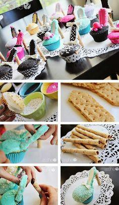 Stiletto Cupcakes How-To ~So cute and  100% edible high heel shoes... Fun for a  girly themed birthday party: Bachelorette Party Theme, Cupcakes High Heel, Stiletto Cupcakes, Cupcake Shoe, Party Ideas, High Heel Cupcake, Dessert, Shoe Cupcake