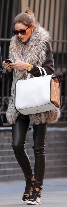 super-cool leather skinny pants, high-top sneakers, and fur vest scream fall outfit perfection!: Oliviapalermo, Fashion, High Top, Street Style, Outfit, Olivia Palermo, Fall Winter, Fur Vest