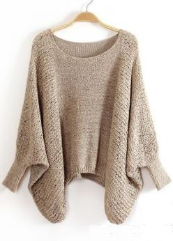 Sweater with Batwing Sleeve - Khaki: Fall Sweater, Poncho, Snuggle, Batwing Sleeve