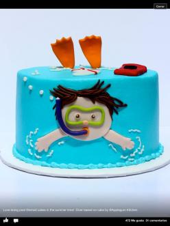 Tarta fondant --creator noted on bottom of image -- just image, no instructions: Pool Parties, Cupcake, Cake Ideas, Swimming Cake, Party Cakes, Party Ideas, Birthday Cakes, Birthday Party