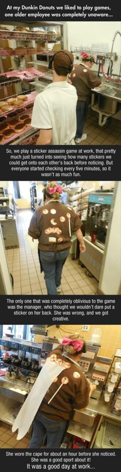That's hilarious...and also something we would do to my boss! If I had 1: Dunkin' Donuts, Dunkin Donuts, Giggle, Funny Pictures, Work Game, Funny Stuff, Sticker Assassin