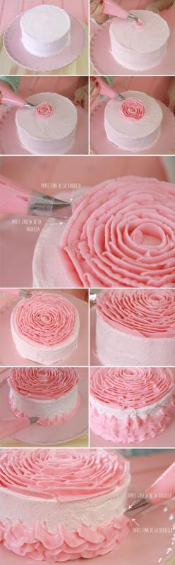 Tutorial Tarta de Rosa - Not in English, but lots of pics - Tip 104: Cake Tutorial, Buttercream Ruffle Cake, Pretty Cake, Buttercream Rose, Buttercream Cake, Rose Cake, Pink Rose
