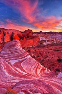 Valley of Fire Wave, Nevada. Omg. Its so red and beautiful!! The rocks are like a pink swirl peppermint. It is so beautiful. AND the sky with it too!! AHH! : Nature, Nevada, Valley, Landscape, Place, U.S. States, Usa
