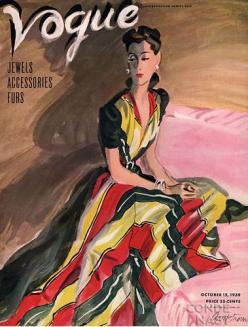 1940's Vogue vintage fashion style color photo print ad model magazine 40s color block stripe red yellow black evening gown illustration formal dress long war era: Condé Nast, October 1939, October 15, Vintage Vogue, Nast Collection, Vogue Covers