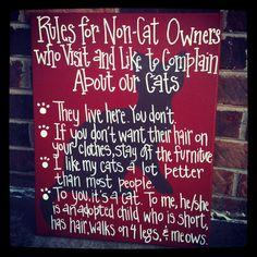 """Rules for Non-Cat Owners who Visit and Like to Complain About our Cats""    ~They live here.  You don't.    ~If you don't want their hair on your clothes, stay off the furniture.    ~ I like my cats a lot better than most people.    ~To yo"
