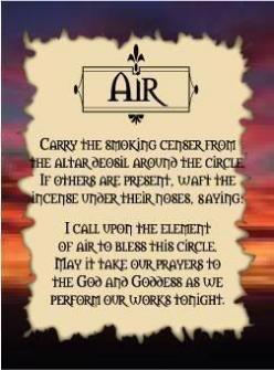 AIR...the divine breath of Spirit, the ability to move through space and time, and the wisdom that comes from experience and study. Where Earth magick lends itself to manifesting things, air magicks are more of the mental, studious variety: sending messag