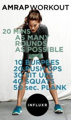 AMRAP Workout - added 50 jumping jacks for cardio and did the plank for 60 seconds.: 20 Minute Workout, Crossfit Wod, Crossfit Workout, Amrap Workout, Crossfit Exercise, Crossfit Routine, Crossfit Circuit, 20 Min Workout, Body Weight