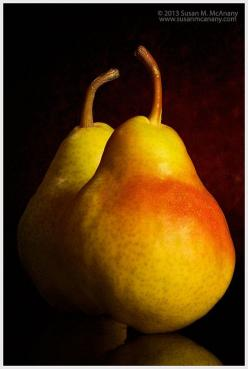 Attraction - Food Photography, Pears on Rich Dark Brown Black, Modern Color Fruit Photograph, Wall Kitchen Art, Home Decor, Yellow, Red,: Dark Brown, Attraction Food, Etsy Finds, Brown Black, Food Photography, Handmade Gifts, Susan Mcanany