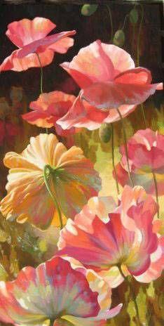 Beautiful color... http://www.sinoorigin.com/images/flower/impressionism-flower/large/impressionism-flower-paintings-002.jpg: Poppies Painting, Art Watercolor, Flower Art, Beautiful Color, Painted Flowers, Flowers I, Flowers Art