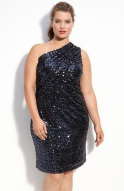 """Best one-shoulder dress for ladies who got two letters up top.  Haven't gotten so many """"have you lost weight?"""" compliments in one night.  Fabulous color and works all-year long.    It's Calvin Klein.  I've seen it at Nordstrom's an"""
