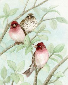 Bird Tree with Finches