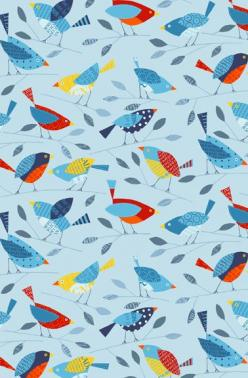Birds wallpaper designed by Nancy Wolff | Loboloup: Thinktank Patterns Colors, Colors Patterns Shapes, Design Pattern, Bird Wallpaper, Arts Crafts Patterns, Patterns Textile Wallpapers, Patterns Illustrations