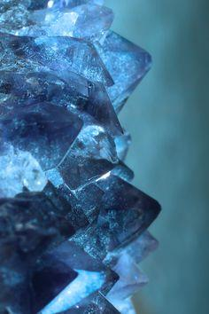 Blue Quartz. Quartz is an abundant mineral in the Earth's continental crust. There are many different varieties of quartz, several of which are semi-precious gemstones.: Crystals, Gemstones, Inspiration, Nature, Color, Blue, Texture, Rock, Minerals
