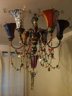 chandelier: Decor, Ideas, Inspiration, Chandeliers, Bohemian Style, Light, Gypsy, Embellished Chandelier