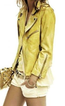 Colored leather.: Leatherjacket, Fashion, Style, Outfit, Leather Jackets, Yellow Leather