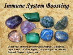 Crystals for Immune System — Boost your immune system with Amethyst, Malachite, Lapis Lazuli, or Moss Agate. Carry with you as needed. Related Chakra: Higher Heart: Gemstone, Healing Crystals, Immune System, Crystals Stones, Healing Stones, Crystal Healin