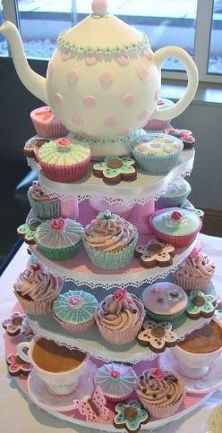 Cupcakes! - Centerpiece for tea-party birthday, baby shower - or just because we all love cupcakes!: Party Cake, Tea Party, Cupcake, Tea Pot, Cakes, Tea Parties, Cup Cake, Party Ideas