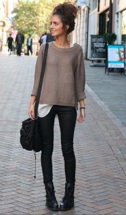 Cute fall fashion ideas | STREET STYLE: FALL FASHION: Sweater, Fashion, Messy Bun, Combat Boot, Clothes, Street Style, Outfit, Fall Winter, Wear