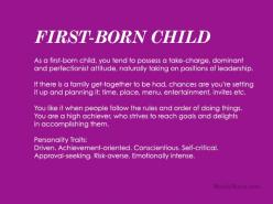 Discover your birth order personality! First Child Personality...: First Child Quotes, Books, Firstborn Child, Birth Order Traits, Middle Child Quotes, First Born Quotes, Birth Order Personality, Born Personality Nithya, Parental Household Environment