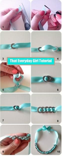 DIY Ribbon and Washer Necklace/Bracelet Tutorial! https://www.retailpackaging.com/categories/74-everyday-specialty-ribbon #arts #crafts #jewelry: Diy Necklace, Diy Jewelry, Washer Necklace, Necklace Tutorial, Washer Bracelet