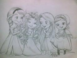 Elsa, Merida, Rapunzel and Anna. <-- The Interesting Hair Club: Girls Only!: Disney Stuff, Fan Art, Disney Princess Drawings, Disney Princesses, Disney Sketch, Disney Art, Baby Princesses, Disney Pixar, Frozen
