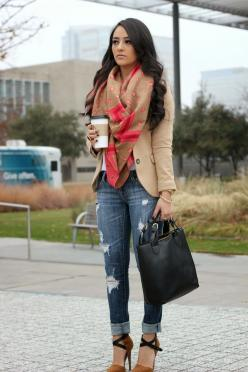 Fall: Distressed Jeans, Style, Blazer, Day Outfit, Fall Outfits, Winter Fashion, Women'S Fall Fashion, Outfit Details, Fall Winter