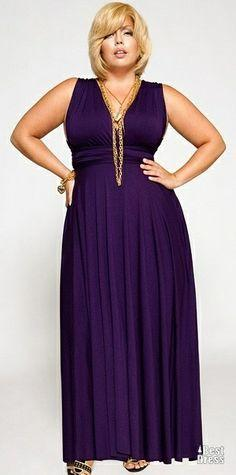 Fashionista: Plus Size Maxi Dress - I like the style - tops made high enough for my chest: Curvy Girl, Maxi Dresses, Plus Size Evening Dress, Style, Purple, Favorite Color, Size Fashion, Plus Size Maxi