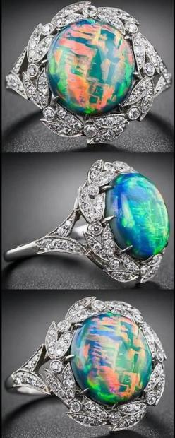 Fire opal and diamond ring. Via Diamonds in the Library.: Opal Rings, Fire Opals, Diamond Rings, Cocktail Rings, Style, Diamonds, Opal Jewelry, Black Opal, Engagement Ring