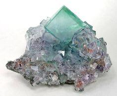 Fluorite crystals naturally run from green to blue to purple. Tempermental sometimes but pretty.