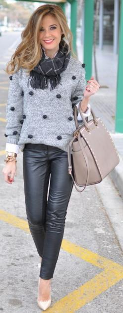 ❤️ Grey Long Sleeve Twisted Ball Sweater, Grey Tartan Scarf , Beige Studded Tote, Black Leather Skinny pants, White Heels: Black Leather, Leather Skinny, Infinity Scarf, Grey Tartan, Twisted Ball, Fall Outfit, Leather Pants, Fall Winter, Kors Handbags