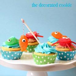 gumdrop fish and crab cupcake toppers for beach and summer | The Decorated Cookie: Boy Cupcakes, Crab Cupcakes, Cupcake Ideas, Party Idea, Fishing Cupcakes, Birthday Party, Birthday Ideas, Baby Shower