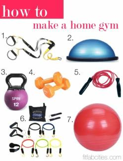 How To: Make a Home Gym… The 7 best fitness accessories! Personally, I don't think the kettle bell should be a part of your home gym, but most of the stuff in here is pretty key! My favourite is the bosu!: Fitness Accessories, Weight, Home Gyms, Worko