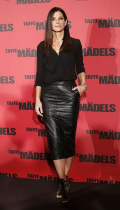 LOVE: Sandra Bullock is Wearing an ASOS Skirt in Our Outfit of the Day: Black Leather Skirts, Sandra Bullock, Fashion, Style, All Black, Leather Pencil Skirts, Dress